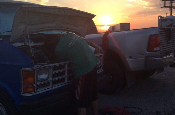 michael fixing van